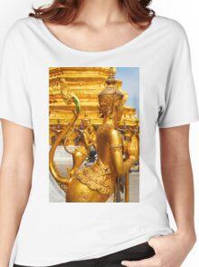 Golden kinnara statues in the Grand palace Bangkok,Thailand Women's Relaxed Fit T-Shirt