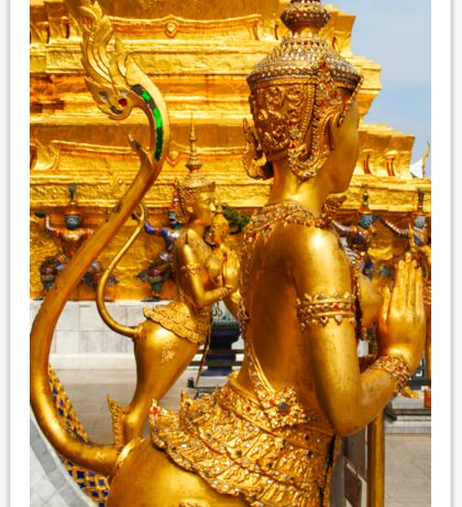 Golden kinnara statues in the Grand palace Bangkok,Thailand Sticker