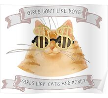 Girls don't like boys - Girls like cats and money Poster