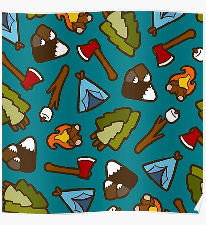 Camping is Cool Pattern Poster