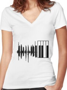 Piano Women's Fitted V-Neck T-Shirt