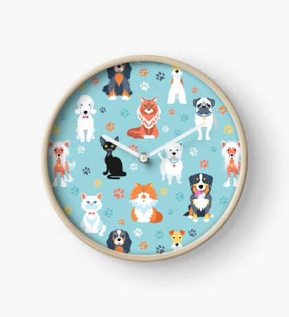 Cats and dogs Clock