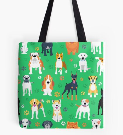 Dogs on the green background Tote Bag