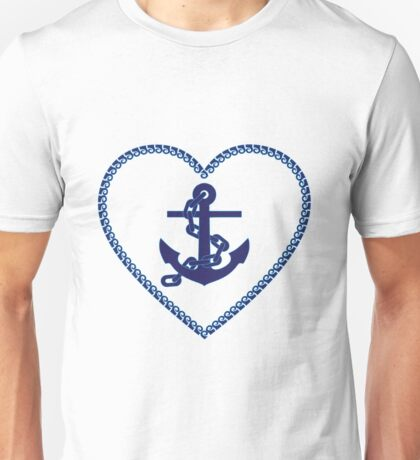 Nautical anchor - marine love heart Unisex T-Shirt