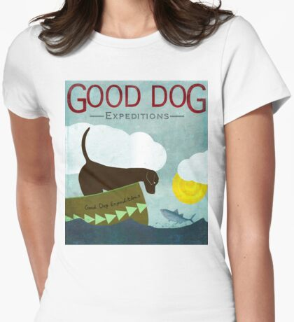 Good Dog Expeditions, dog on a lake meeting a fish Womens Fitted T-Shirt