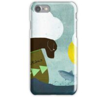 Good Dog Expeditions, dog on a lake meeting a fish iPhone Case/Skin