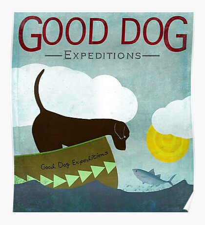 Good Dog Expeditions, dog on a lake meeting a fish Poster