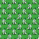 St. Patrick's Day Panda Green Pattern by SaradaBoru