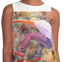 Skater Performing a Trick Illustration Contrast Tank