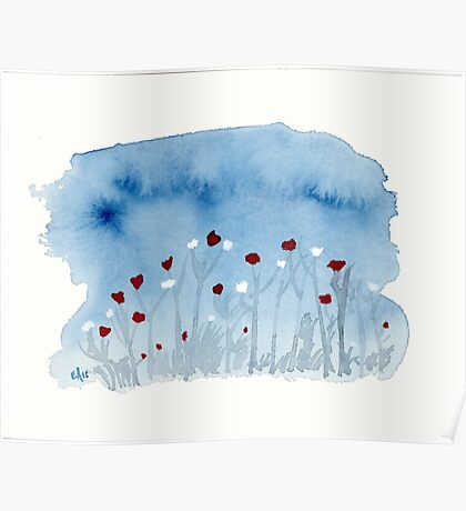 White and Red Poppies Watercolor Painting Art Print Fine Art Print from Watercolor Painting Watercolor Wall art Poster