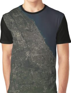 Satellite Image of Chicago Illinois Graphic T-Shirt