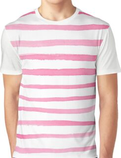 Chic Red and White Stripe Watercolor Graphic T-Shirt