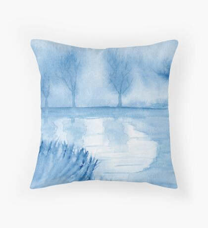 Blue Landscape. Original Watercolor Painting Art Print from Watercolor Painting Fine Art Print Watercolor Wall Art Throw Pillow