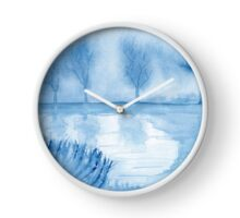 Blue Landscape. Original Watercolor Painting Art Print from Watercolor Painting Fine Art Print Watercolor Wall Art Clock