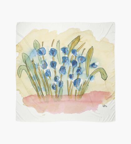 Blue Flowers. Original Watercolor Painting Art Print from Watercolor Painting Fine Art Print Watercolor Wall Art Scarf