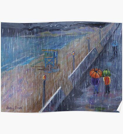 Hermosa Beach Rain Poster