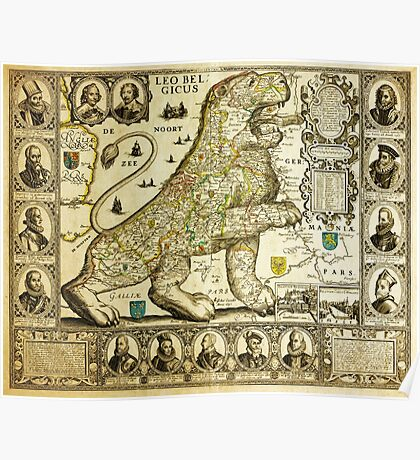 Rare old map of the Netherlands in the shape of a lion from 1600 Poster
