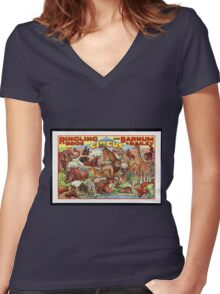Retro Circus Poster with Animals Women's Fitted V-Neck T-Shirt