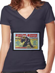 King Kong Style Circus Poster Women's Fitted V-Neck T-Shirt
