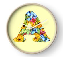 "Floral Letters ""A"" Clock"