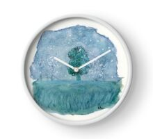 Winter. Original Watercolor Painting Art Print from Watercolor Painting Fine Art Print Watercolor Wall Art Clock
