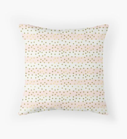 Peach White Gold Stripes Confetti Throw Pillow