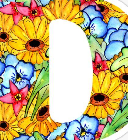"""Floral Letters """"D"""" Sticker"""