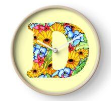"""Floral Letters """"D"""" Clock"""