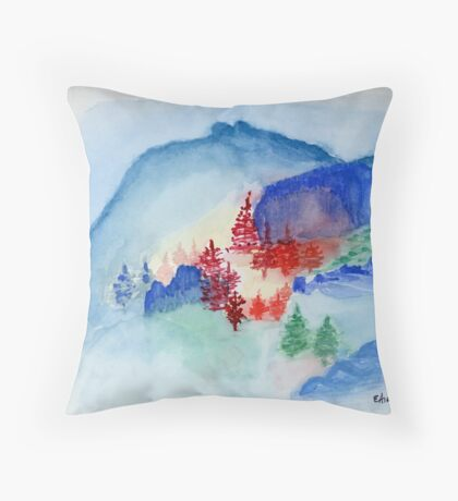 Blue Paradise Watercolor Painting Art Print Fine Art Print from Watercolor Painting Painting Art Modern Wall Art Throw Pillow