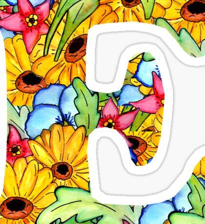 "Floral Letters ""E"" Sticker"