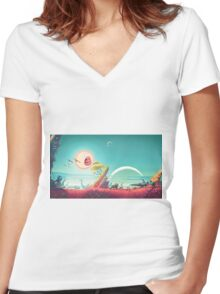 Rick and Morty x No Mans Sky Mashup Women's Fitted V-Neck T-Shirt