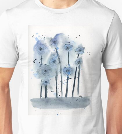 Blue Flowers Watercolor Painting Art Print Fine Art Print from Watercolor Painting Abstract Painting Art Watercolor Wall Art Unisex T-Shirt