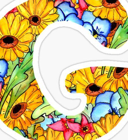 "Floral Letters ""G"" Sticker"