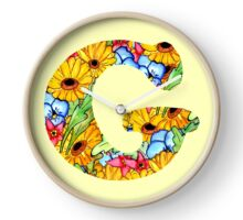 "Floral Letters ""G"" Clock"