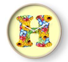 """Floral Letters """"H"""" Clock"""