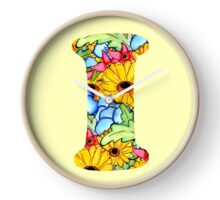 "Floral Letters ""I"" Clock"