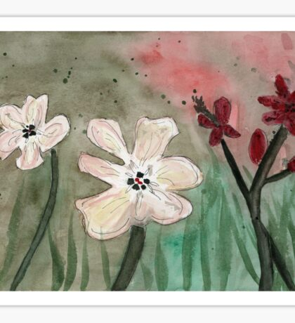Flowers with Filter Original Watercolor Painting Art Print from Watercolor Painting Flowers Art Print Watercolor Wall Art Sticker