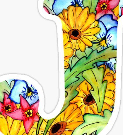 "Floral Letters ""J"" Sticker"