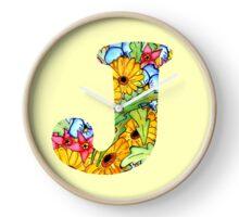 """Floral Letters """"J"""" Clock"""