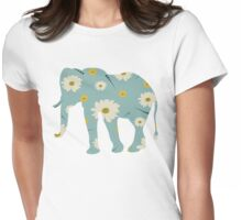 Floral Daisy Elephant Womens Fitted T-Shirt