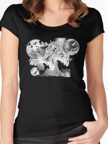 Crane with cherry blossoms Black and white asian art on dark background Women's Fitted Scoop T-Shirt
