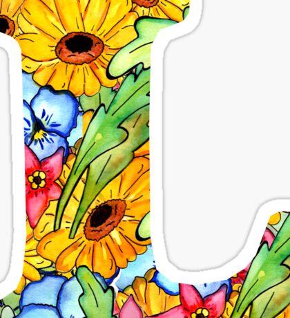 """Floral Letters """"L"""" Sticker"""