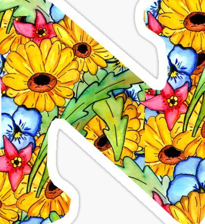 "Floral Letters ""N"" Sticker"
