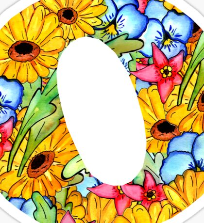 """Floral Letters """"O"""" Sticker"""