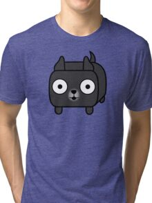 Pit Bull Loaf - Black Pitbull with Cropped Ears Tri-blend T-Shirt