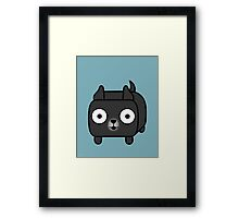 Pit Bull Loaf - Black Pitbull with Cropped Ears Framed Print