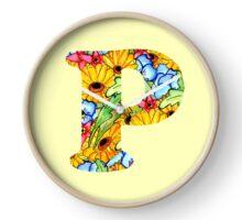 """Floral Letters """"P"""" Clock"""