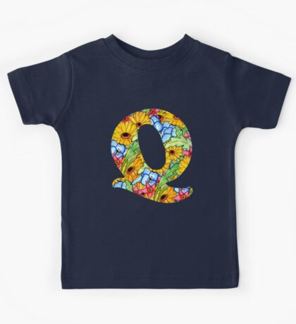 """Floral Letters """"Q"""" Kids Tee"""