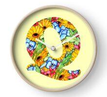 """Floral Letters """"Q"""" Clock"""