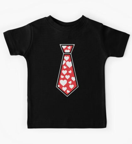 Valentines Day Tie Shirt with Hearts - Kids and Adult Sizes Kids Tee